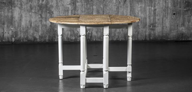 Mandal kjøkkenbord brunbeiset topp/hvitmalt understell