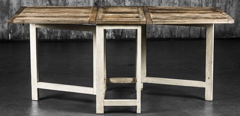 Swedish kjøkkenbord resirk. natur topp/hvitmalt skrog