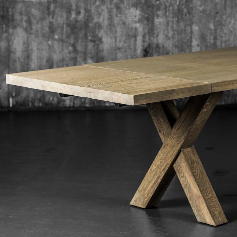 Enorm Cross spisebord med klaffer gråvasket eik - Home at Home GH-53