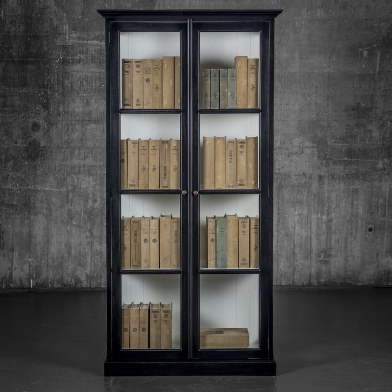 Baskerville skap sortmalt med hvit innside 2-dørs